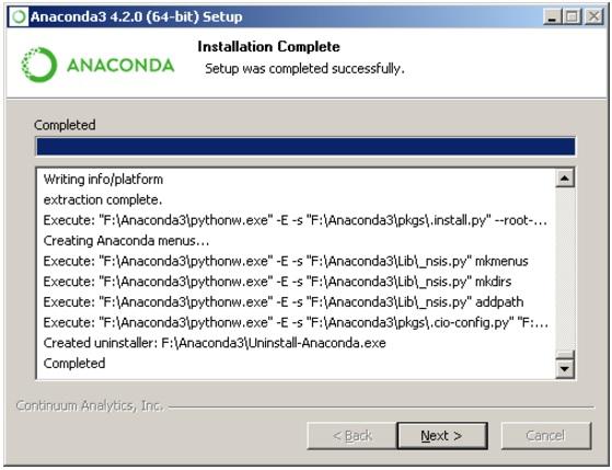 Завершение установки Anaconda