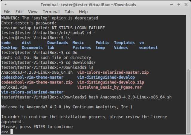 Установка Anaconda в Linux