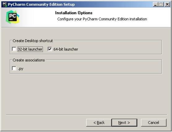 Опции установки PyCharm
