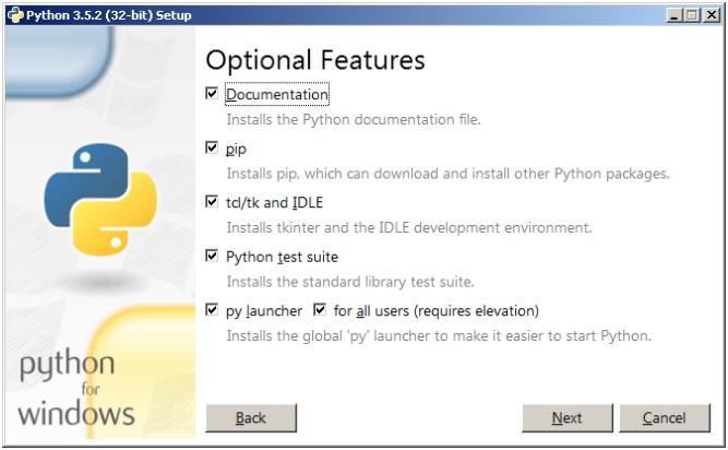 Опции установки Python