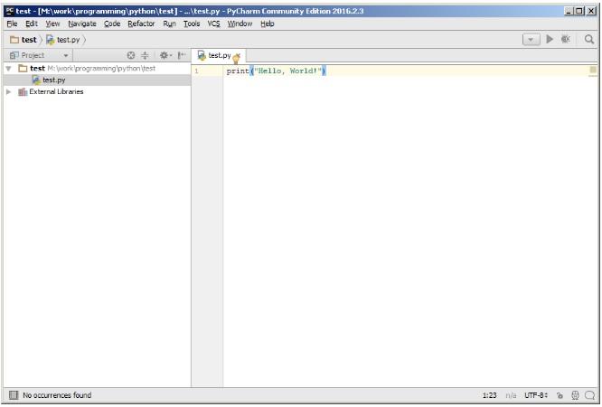 Код программы для PyCharm