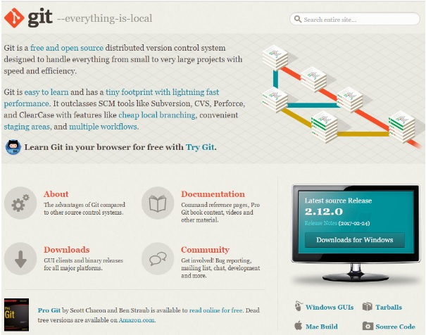 Загрузочная страница Git