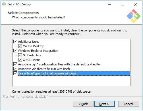 Выбор компонентов Git